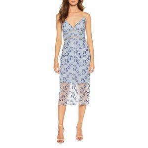 Bardot Blue Sapphire Floral Lace Sheath Midi Dress